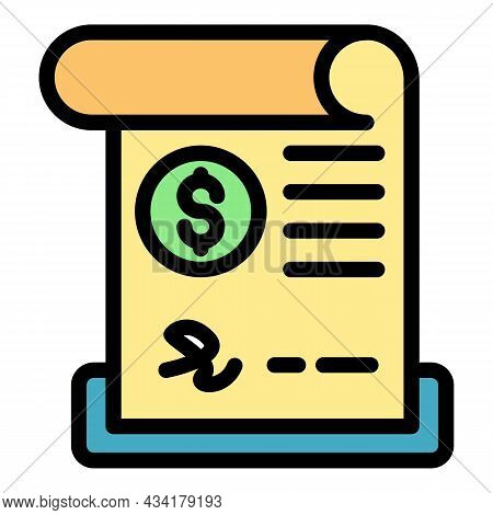 Credit Paper Bill Icon. Outline Credit Paper Bill Vector Icon Color Flat Isolated