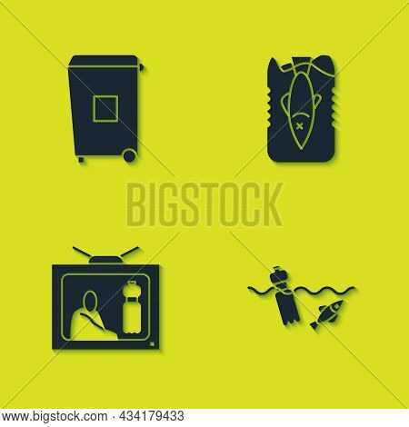 Set Trash Can, Problem Pollution Of The Ocean, Stop Plastic And Icon. Vector