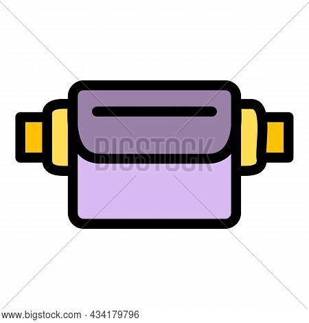 Sport Waist Bag Icon. Outline Sport Waist Bag Vector Icon Color Flat Isolated