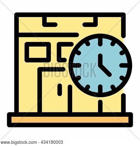 Gym And Watch Icon. Outline Gym And Watch Vector Icon Color Flat Isolated