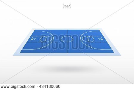 Basketball Court Background And Line Court Pattern. Perspective View Of Basketball Field Background.