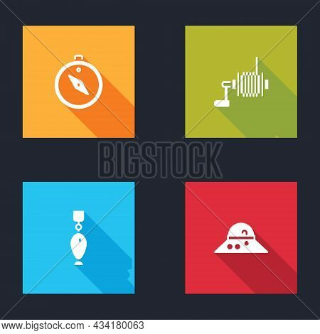 Set Compass, Spinning Reel For Fishing, Fishing Spoon And Fisherman Hat Icon. Vector