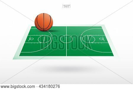 Basketball Ball And Basketball Court Background With Line Court Pattern. Perspective View Of Basketb