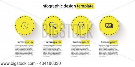 Set Clock, Magnifying Glass With Clock, And Pm. Business Infographic Template. Vector