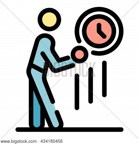 Gym Man On Time Icon. Outline Gym Man On Time Vector Icon Color Flat Isolated