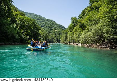 Montenegro - 01 July, 2019: View Of Rafting On Tara River Canyon, The Largest And Deepest Canyon In