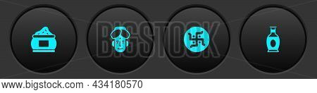 Set Indian , Man, Hindu Swastika And Vase Icon. Vector