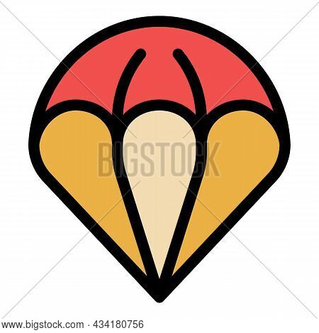 Sky Parachute Icon. Outline Sky Parachute Vector Icon Color Flat Isolated