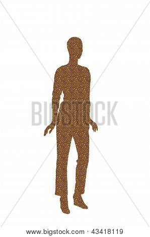 Fashion Dummy Silhouette (yellow Animal Skin Pattern Shadow Isolated In White Background)