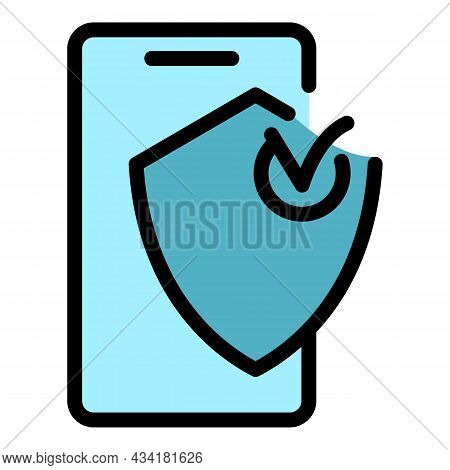 Protected Phone Icon. Outline Protected Phone Vector Icon Color Flat Isolated