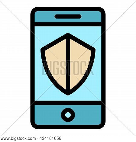 Protected Smartphone Icon. Outline Protected Smartphone Vector Icon Color Flat Isolated