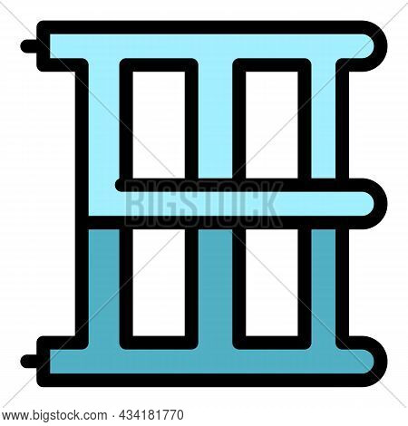 Heated Ladder Icon. Outline Heated Ladder Vector Icon Color Flat Isolated