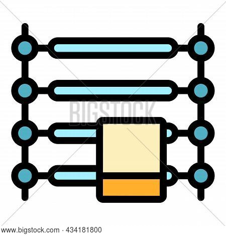 Towel Dryer Icon. Outline Towel Dryer Vector Icon Color Flat Isolated