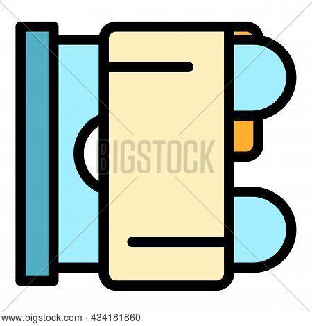 Heat Bathroom Radiator Icon. Outline Heat Bathroom Radiator Vector Icon Color Flat Isolated