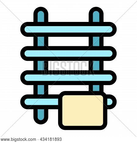 Towel Radiator Icon. Outline Towel Radiator Vector Icon Color Flat Isolated
