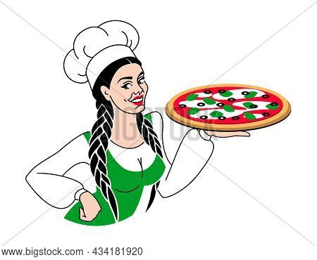 Young Beautiful Girl Chef Offer To Taste Pizza. For Pizzerias, Restaurants, Cafe, Menu, Delivery. Wo