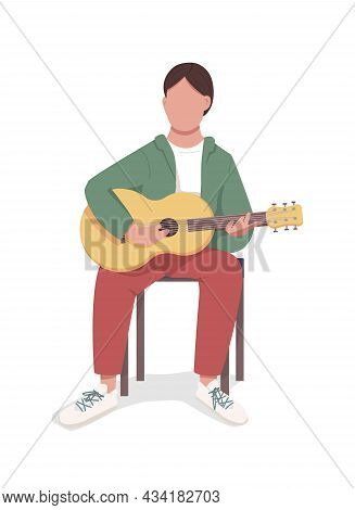 Guitarist Semi Flat Color Vector Character. Sitting Figure. Full Body Person On White. Musician Perf