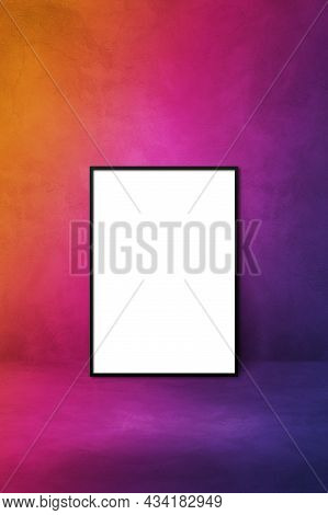 Black Picture Frame Leaning On A Purple Wall. Blank Mockup Gradient Template
