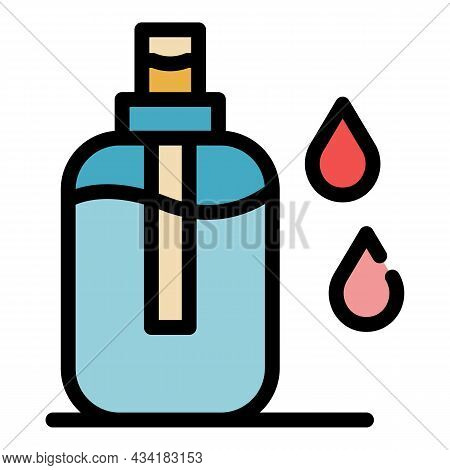 Liquid Antiseptic Icon. Outline Liquid Antiseptic Vector Icon Color Flat Isolated