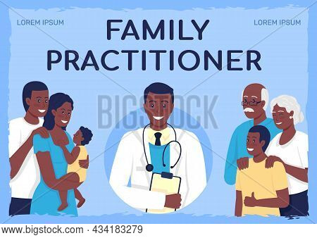 Health Care Services Poster Flat Vector Template. Family Practitioner. Brochure, Booklet One Page Co