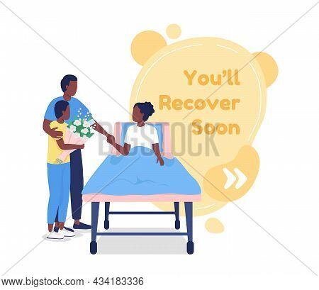 Recover Soon Vector Quote Box With Flat Character. Family Visiting Patient. Health Care In Hospital.