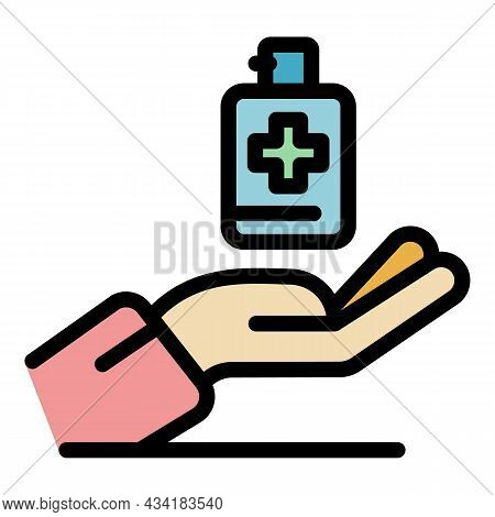 Pharmacy Antiseptic Icon. Outline Pharmacy Antiseptic Vector Icon Color Flat Isolated