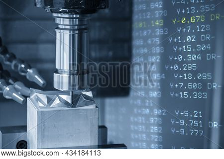 The Abstract Scene Cnc Milling Machine Cutting The Stamping Die Parts And G-code Data Background. Th