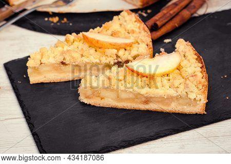 Piece Of Apple Crumble Cake, Delicious Apple Pie