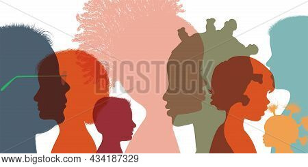 Heads Faces Colored Silhouettes Multicultural And Multiethnic Diversity Children In Profile. Kinderg
