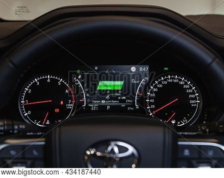 Novosibirsk, Russia - September    24 , 2021: Toyota Land Cruiser 300, Close Up Instrument Automobil