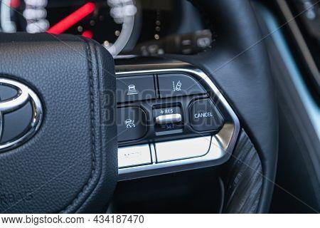 Novosibirsk, Russia - September    24 , 2021: Toyota Land Cruiser 300, Black Steering Wheel With Mul