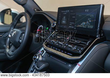Novosibirsk, Russia - September    24 , 2021: Toyota Land Cruiser 300, Close-up Of The Central Contr