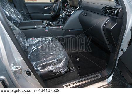 Novosibirsk, Russia - September    24 , 2021: Toyota Land Cruiser 300, Dashboard, Player, Steering W