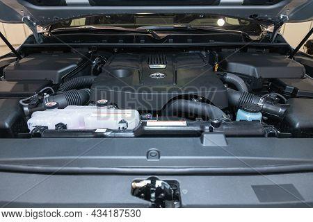 Novosibirsk, Russia - September    24 , 2021: Toyota Land Cruiser 300, Car Engine Close-up. Internal