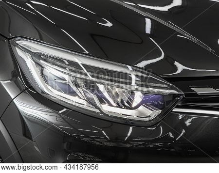 Novosibirsk, Russia - July 08, 2021: Renault Kaptur, Exterior Detail. Close Up Detail On One Of The