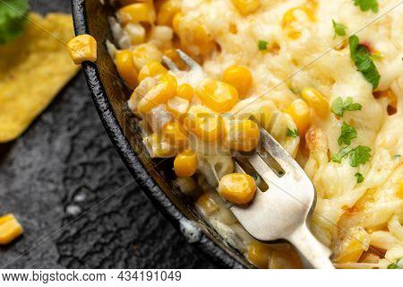 Korean Corn Cheese In Cast Iron Skillet Frying Pan