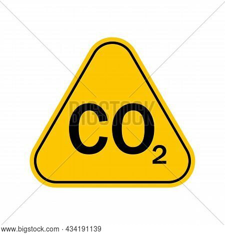 Co2 Warning Sign , Carbon Dioxide Warning Symbol , Yellow Triangle Caution Symbol, Isolated On White