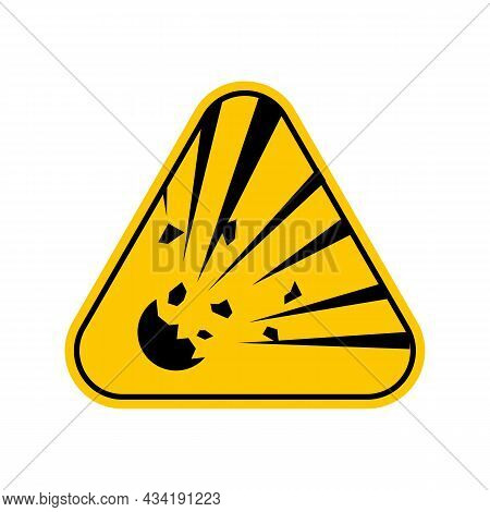 Explosion Warning Hazards Symbols, Yellow Triangle Caution Symbol, Isolated On White Background, Vec