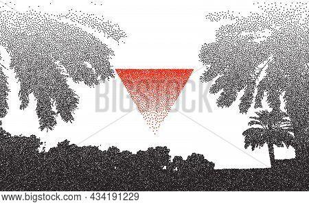 Stipple Retro Palms Dotwork Triangle. Palm Tree Beach Vector Background. Dotwork Nature Landscape. V