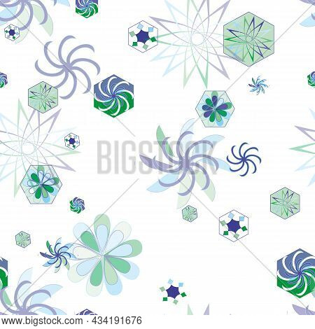 Light Winter Seamless Pattern, Snowy Background Of Stylized Flowers And Snowflakes On White, Snowy P