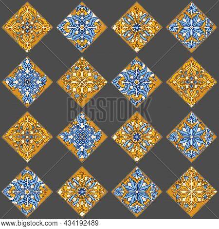 Portuguese Azulejo Vintage Ceramic Tile Seamless Pattern. Old Grunge Background With Chipped Enamel