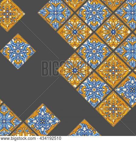 Portuguese Azulejo Vintage Ceramic Tile Background. Old Grunge Background With Chipped Enamel Tile.