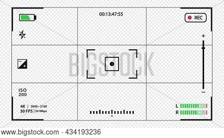 Vector Viewfinder Template- Record Frame Isolated On Transparent Background. Night Camera Military V