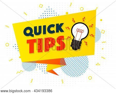 Quick Tips Banner Light Bulb Vector Modern Style For Tooltip Badge, Solution And Advice Label, Helpf