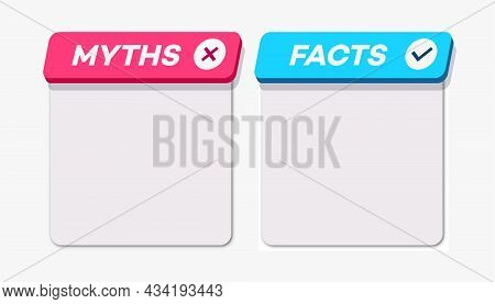 Myths Vs Facts Card 3d Style Isolated On White Background. Fact-checking Or Easy Compare Evidence. C