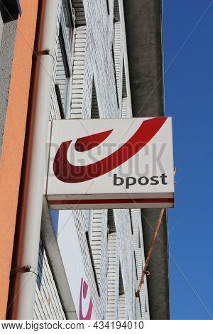 Lebbeke, Belgium, 25 September 2021: Logo Of Bpost, The Belgian Company Responsible For The Delivery