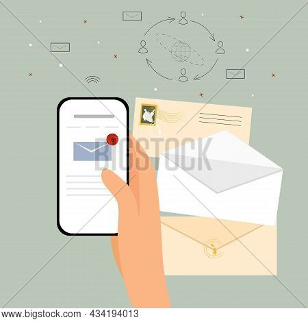 Email Letter. The Concept Of The Internet And Technologies. The Hand Holds The Phone, Checking Mail