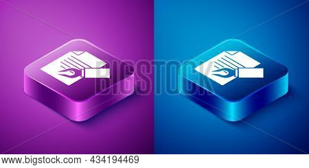 Isometric Exam Sheet And Pencil With Eraser Icon Isolated On Blue And Purple Background. Test Paper,