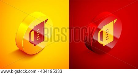 Isometric Measuring Cup To Measure Dry And Liquid Food Icon Isolated On Orange And Red Background. P