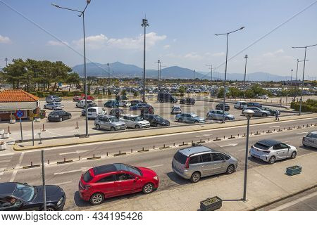 Beautiful Landscape View Of Parking And Outside Area Of Thessaloniki Airport. Greece. Thessaloniki.